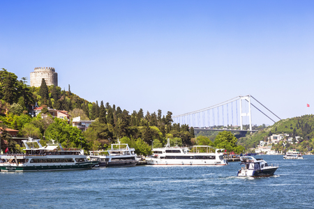 rumeli: ISTANBUL, TURKEY - MAY 13, 2015: Rumeli Fortress and the image of the golden gate bridge. Editorial