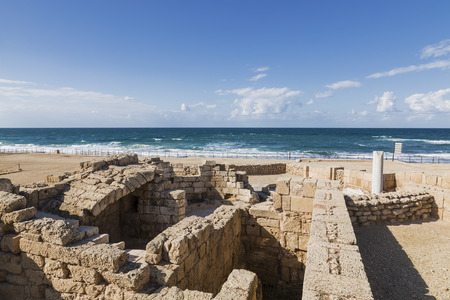 ruins is ancient: The architecture of the Roman period in the national park Caesarea on the Mediterranean coast of Israel Stock Photo