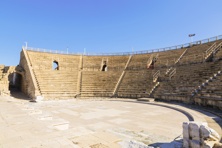 ruins is ancient: Roman amphitheater in the national park Caesarea on the Mediterranean coast of Israel