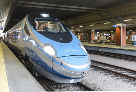 intercity: KRAKOW, POLAND - JANUARY 3, 2015: High-speed intercity train on the platform of the train station in Krakow
