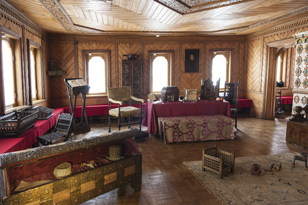 boyar: MOSCOW, RUSSIA - AUGUST 10, 2013: The Museum Chambers in Zaryadye. Chambers of the Romanov boyars. Room the boyar. Womens half. Moscow Editorial