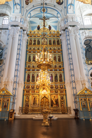 iconostasis: ISTRA, RUSSIA - MAY 27, 2016: the Iconostasis of the Resurrection cathedral of the Voskresensky New-Jerusalem stavropegial male monastery, Istra, Moscow region, Russia. The monastery was founded in 1656 by Patriarch Nikon Editorial
