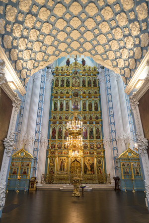 iconostasis: ISTRA, RUSSIA - MAY 27, 2016: the Iconostasis of the Resurrection cathedral of the Voskresensky New-Jerusalem stavropegial male monastery, Istra, Moscow region, Russia. Editorial