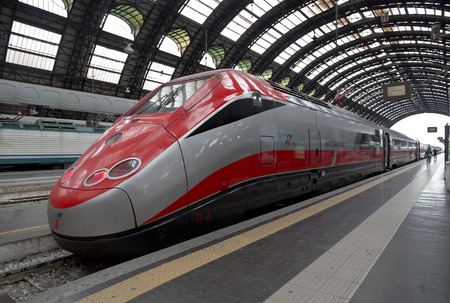 eurostar: MILAN, ITALY - MAY 7, 2014: High-speed Eurostar train at the railway station in Milan