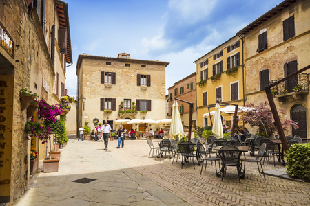 PIENZA, ITALY - MAY 12, 2014: Beautiful courtyard in Tuscany, Italy in summer