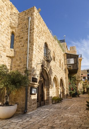 jaffo: TEL AVIV, ISRAEL - NOVEMBER 30, 2015: The old narrow streets of Jaffa. Tel Aviv, Israel. Stock Photo