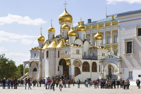 annunciation: MOSCOW, RUSSIA - MAY 13, 2016: Tourists near the Cathedral of the Annunciation of the Moscow Kremlin
