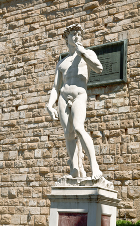 acknowledgment: A copy of the statue of David by Michelangelo, in the background of the Palazzo Vecchio in Piazza della Signoria in Florence
