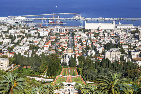 bahaullah: Top view of the Bahai Garden and Haifa, Israel Stock Photo
