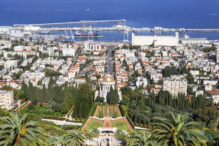 bahaullah: Top view of the Bahai Garden and Haifa, Israel Stock Photo
