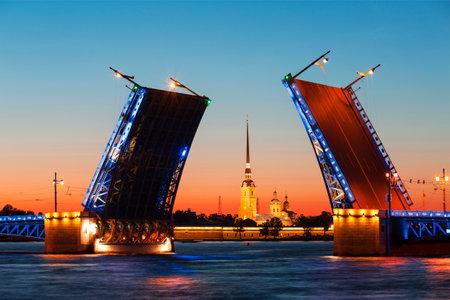 White nights in St. Petersburg. Divorced Palace bridge. Russia