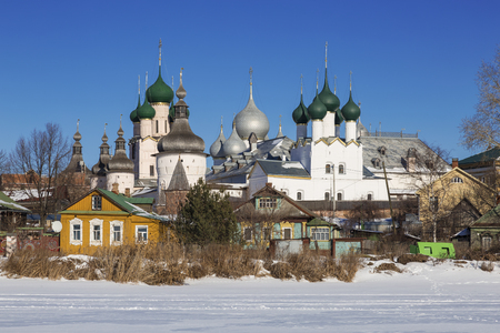 Panorama Kremlin of Rostov the Great on a winters day, view from the lake Nero, Russia