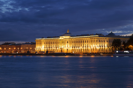 dome type: ST. PETERSBURG, RUSSIA - JULY 06, 2015: Night view of St Petersburg. Building of Academy of Arts.