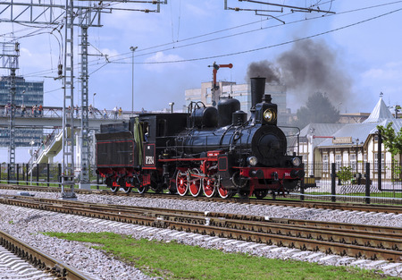 MOSCOW, RUSSIA - AUGUST 06, 2016: Demonstration of restored vintage locomotives at the celebration of the Day of railway troops of the Russian Federation in Moscow