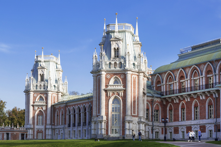 MOSCOW, RUSSIA - SEPTEMBER 16, 2015: The grand palace of queen Catherine the Great in Tsaritsyno, Moscow, Russia