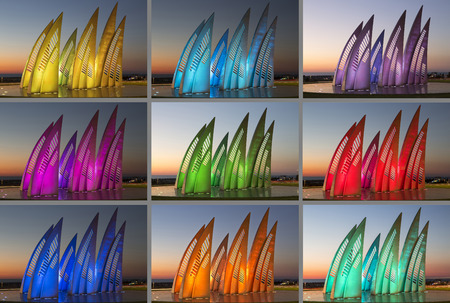 ashdod: Sculptural group sail with changing colors at sunset in Ashdod, Israel. Collage Stock Photo