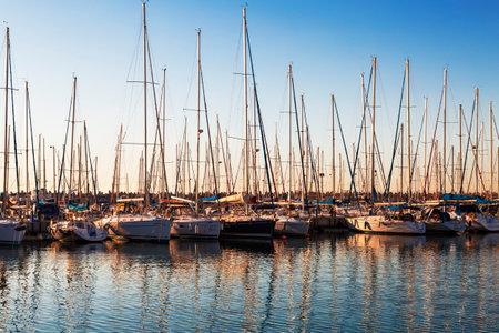 ashdod: ASHDOD, ISRAEL - JANUARY 08, 2015: Marina with docked yachts at sunset Editorial