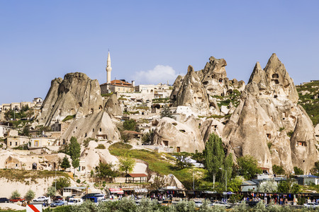 castle rock: The view of the ancient city and fortress Uchisar, Cappadocia, Turkey Editorial