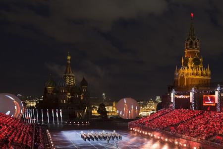 The performances of military bands at the festival Spasskaya tower in Moscow, Russia
