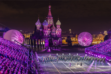 spasskaya: The performances of military bands at the festival Spasskaya tower in Moscow, Russia