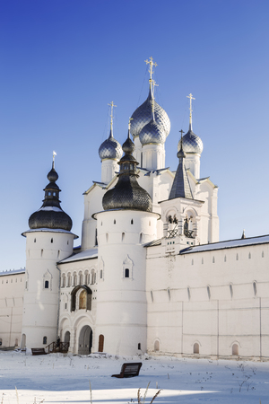 Holy Gates, the Resurrection Church and wall of the Kremlin of the Rostov Veliky, Russia
