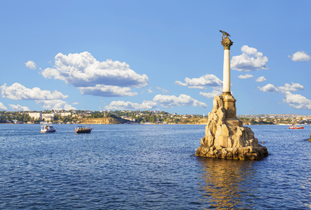 the sunken: Monument to the scuttled ships on a Sunny day. Sevastopol, Crimea, Russia