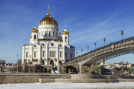 savior: The Cathedral of Christ the Savior in winter, Moscow, Russia