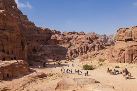 nabataean: Panorama of Petra in Jordan - ancient city, capital of the Edomites , and later the capital of the Nabataean Kingdom., tourist attraction. Jordan