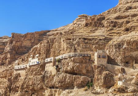 The monastery of Temptation on the mountain Carental, Jericho, Judean desert. The Palestinian authority Standard-Bild