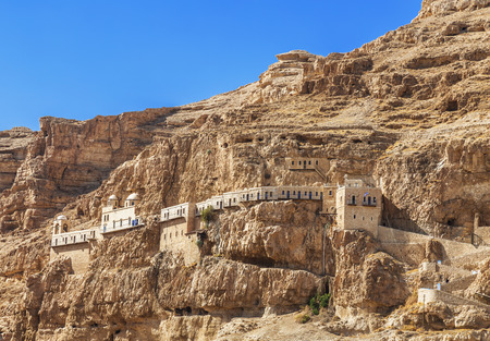The monastery of Temptation on the mountain Carental, Jericho, Judean desert. The Palestinian authority Stock Photo
