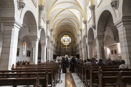 BETHLEHEM, PALESTINE - OCTOBER 27, 2016: Interior of Church of St. Catherine in Bethlehem. It was first recorded in the 15th century, is part of the Church of Nativity complex