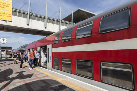 ashdod: ASHDOD, ISRAEL - NOVEMBER 08, 2016: Double-Decker train at one of the railway stations of Israel Editorial