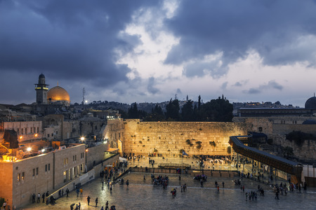 The wailing Wall and the Dome of the Rock in the Old city of Jerusalem n the evening, Israel Stock Photo