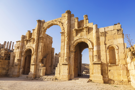 Arch of Hadrian in the ancient Jordanian city of Gerasa, preset-day Jerash, Jordan Stock Photo