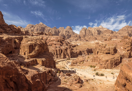Panorama of Petra in Jordan - ancient city, capital of the Edomites , and later the capital of the Nabataean Kingdom., tourist attraction. Jordan