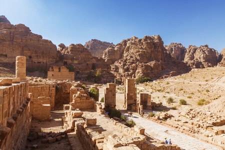 nabataean: Ruins of Roman architecture in Petra, the capital of the Nabataean Kingdom, Jordan