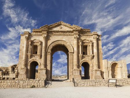 Arch of Hadrian, Jerash, Jordan Stock Photo