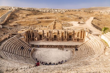 Large South Theatre in antique town Jerash, Jordan