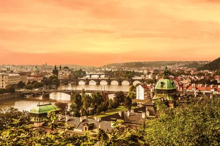 View of Prague and Charles bridge at dawn, Czech Republic