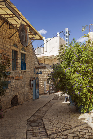 jewish houses: Street of artists in the old city of Safed, Israel