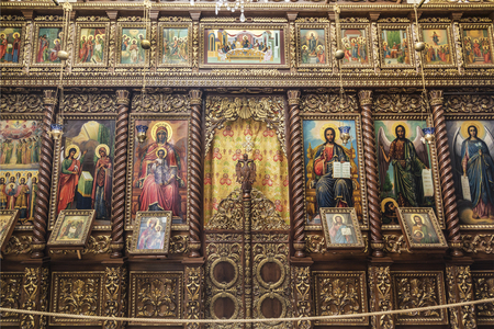 The iconostasis in the monastery of the Temptation on the mountain, Carental, Jericho