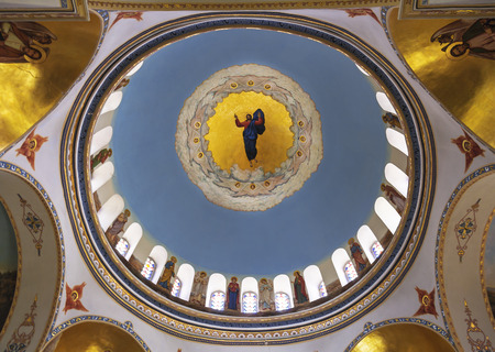 the ascension: Painting of the dome of the ascension Cathedral in a Russian Orthodox womens ascension monastery, Jerusalem, Israel Editorial