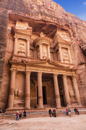 nabataean: tourists at the temple of El Khazneh in the capital of the Nabataean Kingdom, Jordan