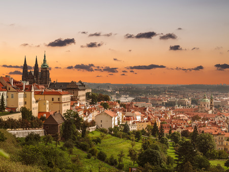 View of the historic part of Prague with St. Vitus Cathedral at sunset, Czech Republic