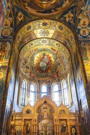 Interior of the Church of the Savior on Spilled Blood in St. Petersburg, Russia. Editorial