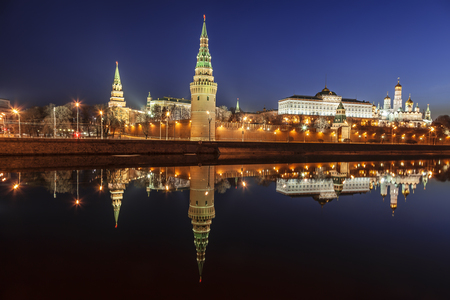 Panorama of the Moscow Kremlin in the early morning, Russia