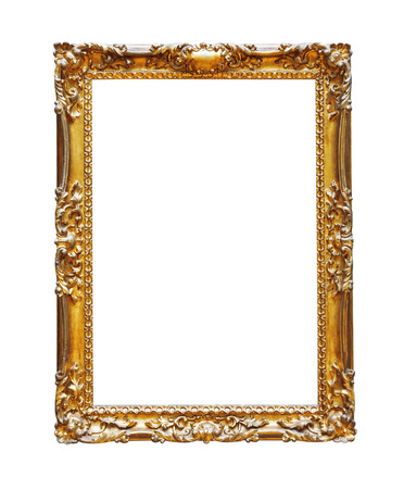 Vintage gold frame isolated on white background Stock Photo