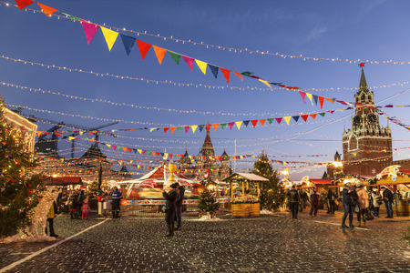 Christmas fair on the Red square in Moscow, Russia Editorial