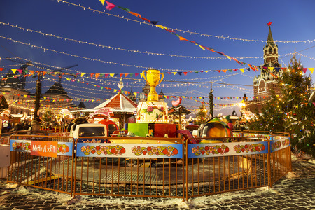 spasskaya: Christmas fair on the Red square in Moscow, Russia Editorial