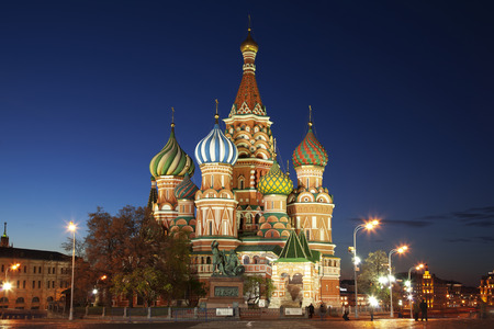 St. Basil's Cathedral on the Red square at night. Russia